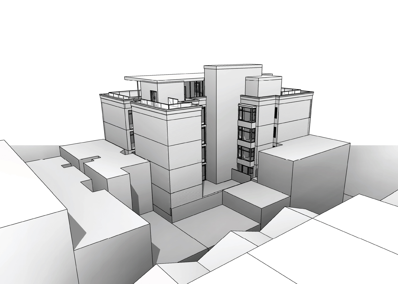 2101 Lombard Street rear side aerial view, rendering by Kerman Morris Architects