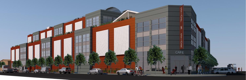 2285 Jerrold Avenue corner cafe and building', rendering by Kotas Pantaleoni Architects