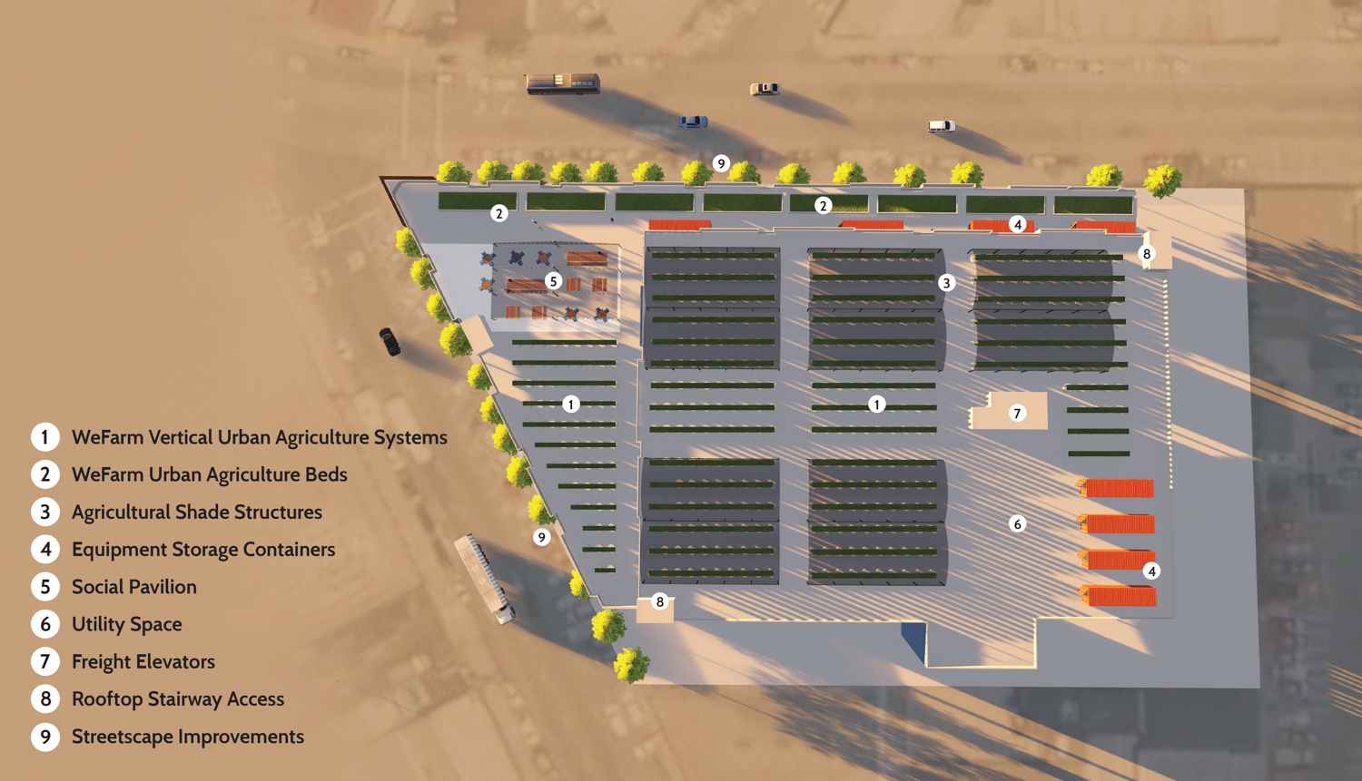 2285 Jerrold Avenue, rendering with floor plan of agricultural layout, image by Rana Creek