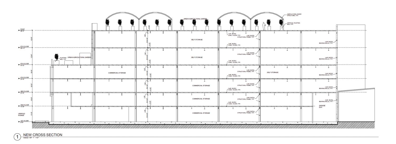 2285 Jerrold Avenue vertical elevation, drawing by Kotas Pantaleoni Architects