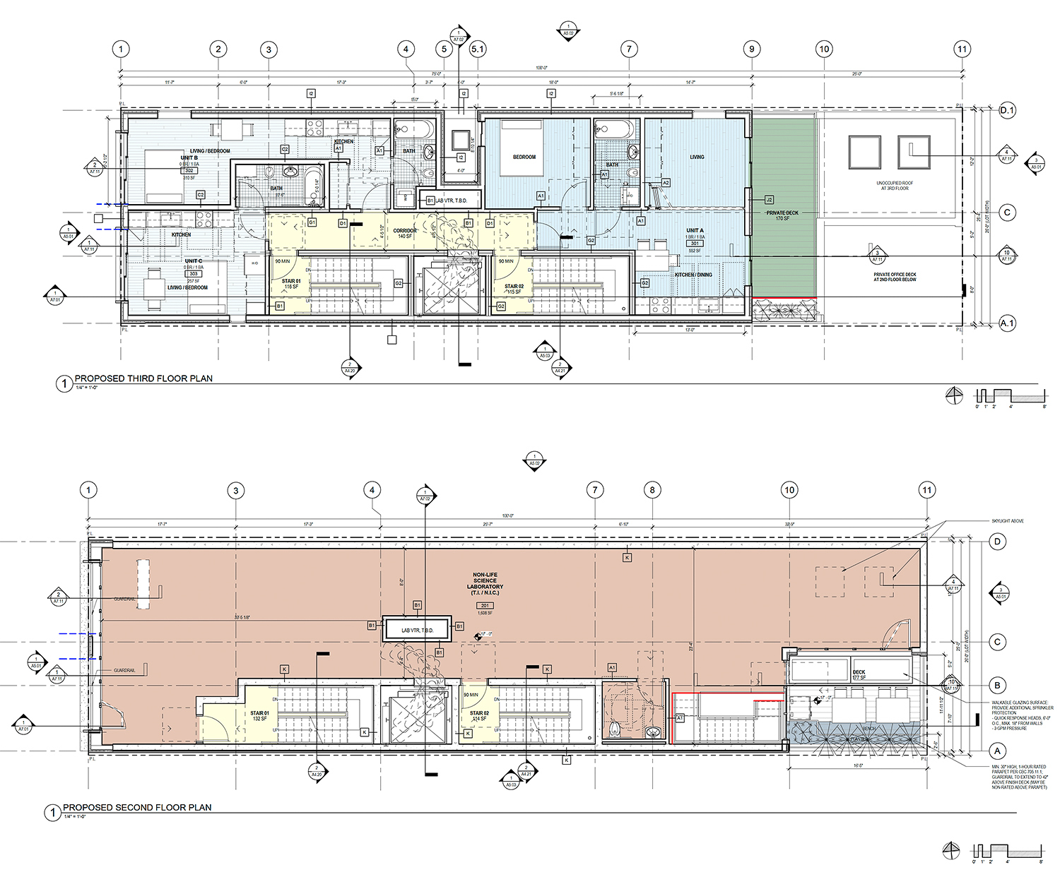 2455 Harrison Street second and third floor plan, elevation by Kerman Morris Architects
