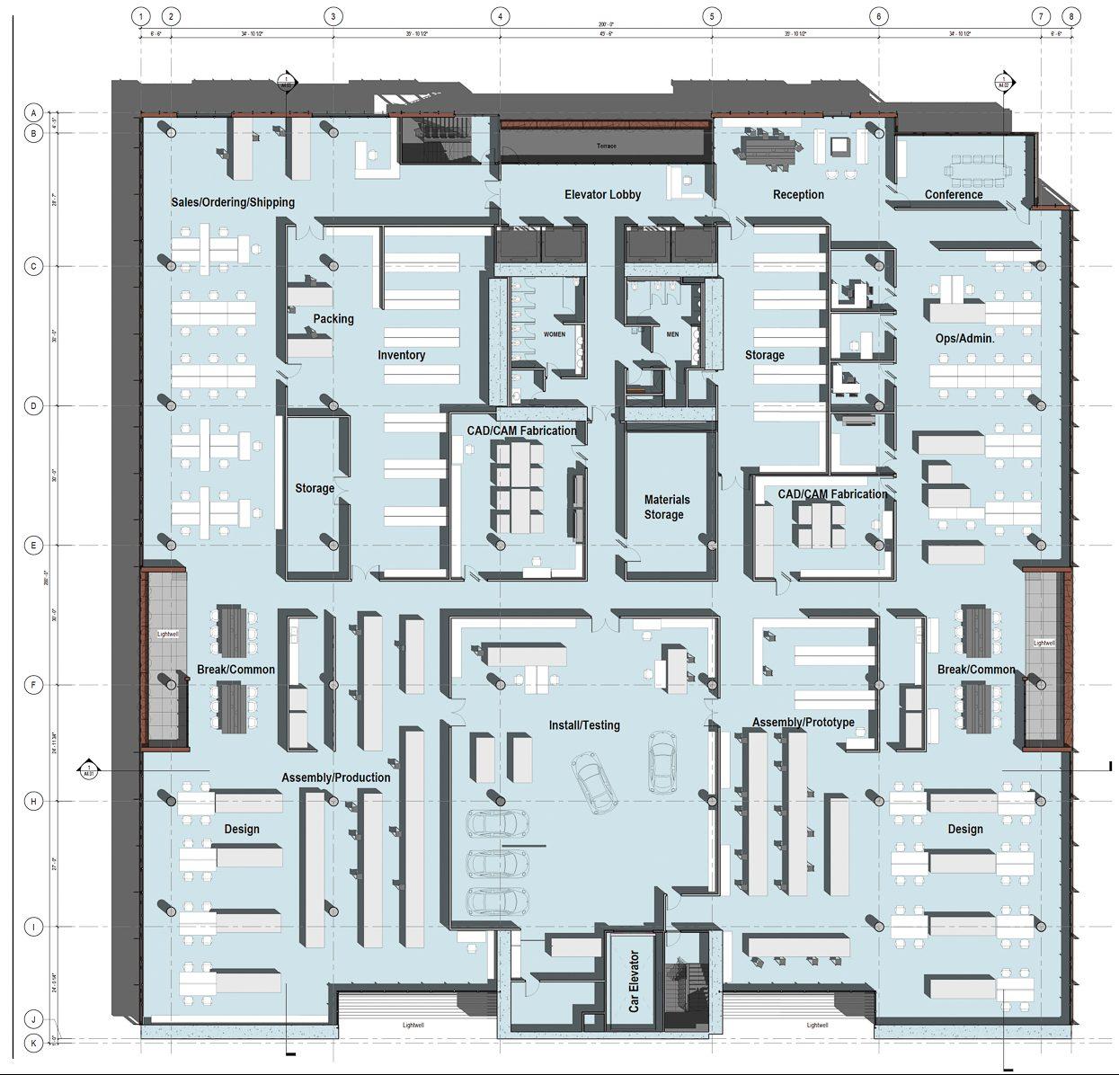 2800 Third Street fourth-floor sample floor-plan, illustration by Perkins&Will