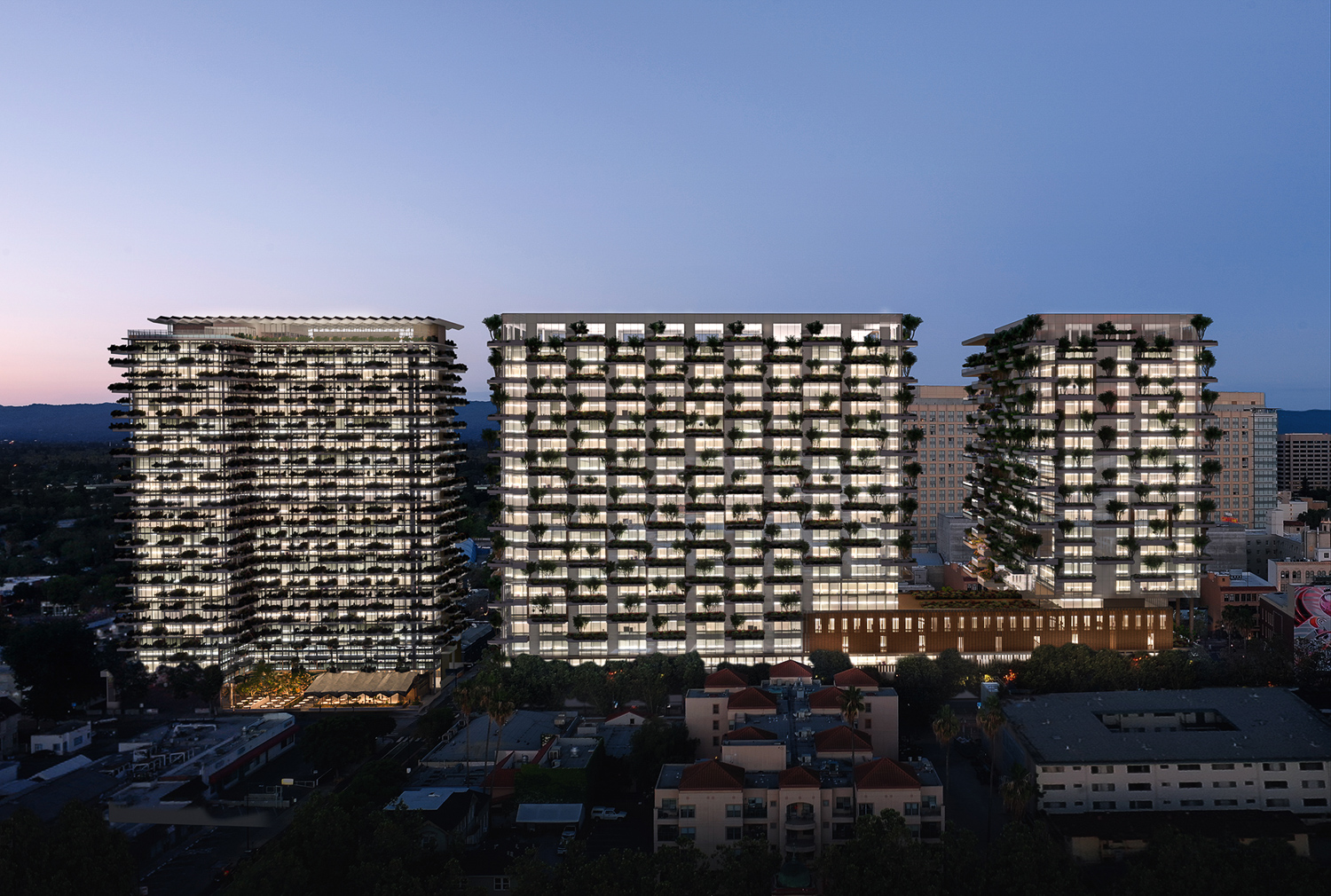 300 South 1st Street (left, middle) and 409 South 2nd Street (right), rendering by Hayes Davison courtesy Westbank