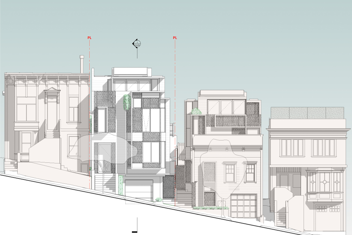 315 Rutledge Street front elevation, illustration by Does Architecture