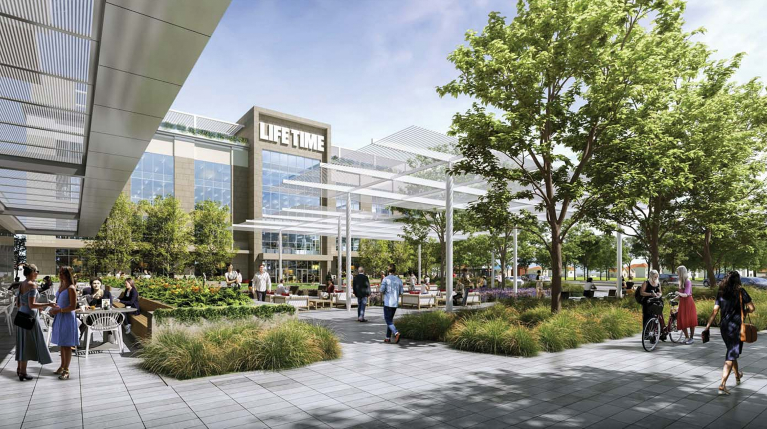 3896 Stevens Creek central plaza, rendering by HKS Architects