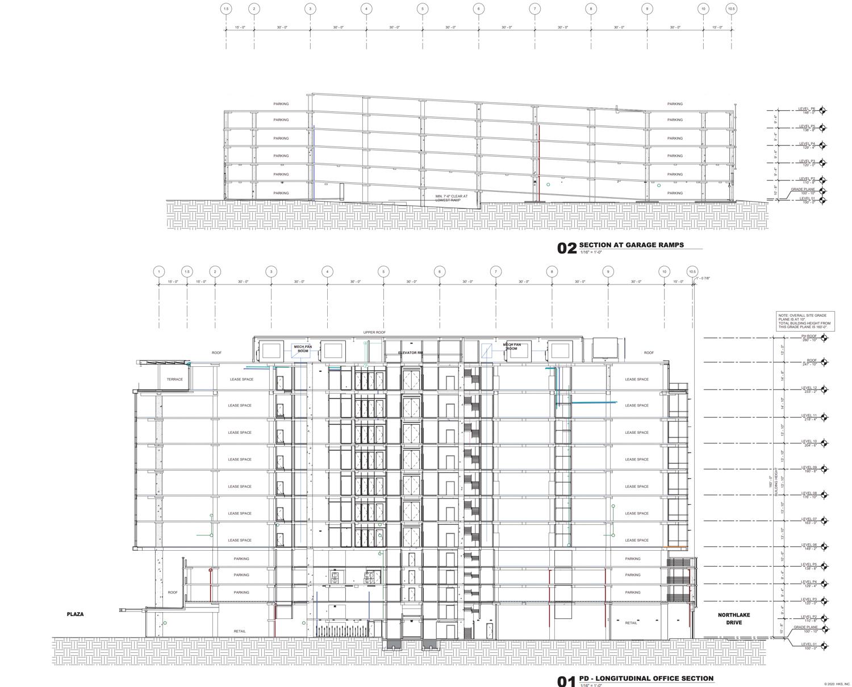 3896 Stevens Creek office elevation, plan by HKS Architects