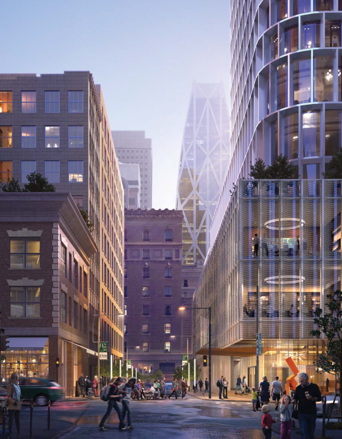 45-53 Third Street podium with the now-stalled Oceanwide Center proposal, designed by Norman Foster & Partners, illustrated in the background, rendering by SOM