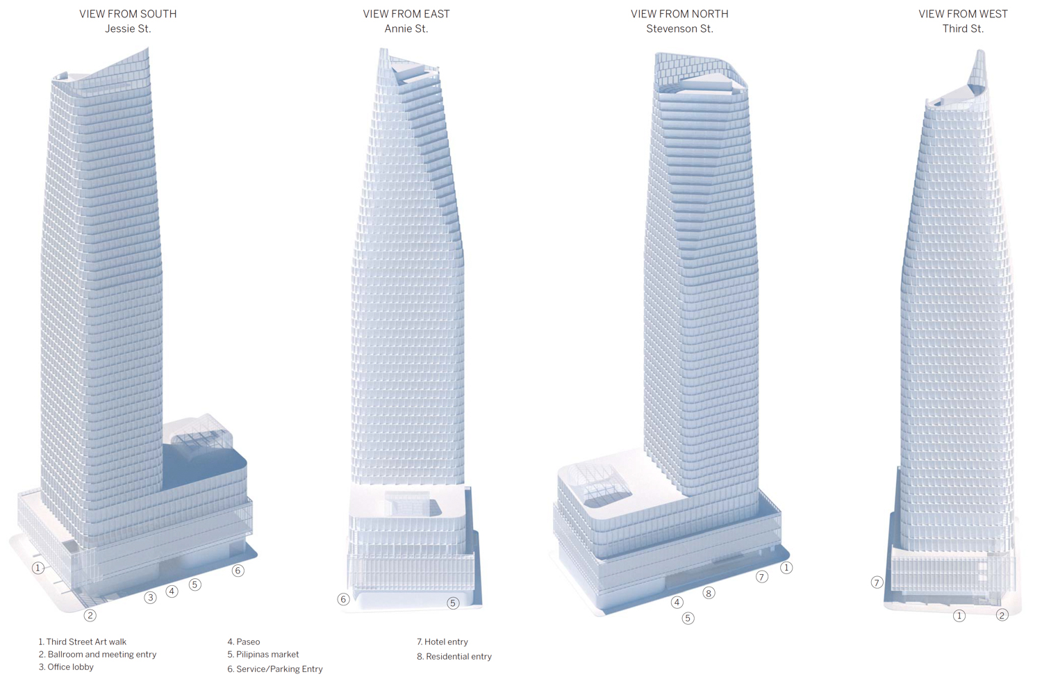 45-53 Third Street proposed massing from four angles, elevation by SOM
