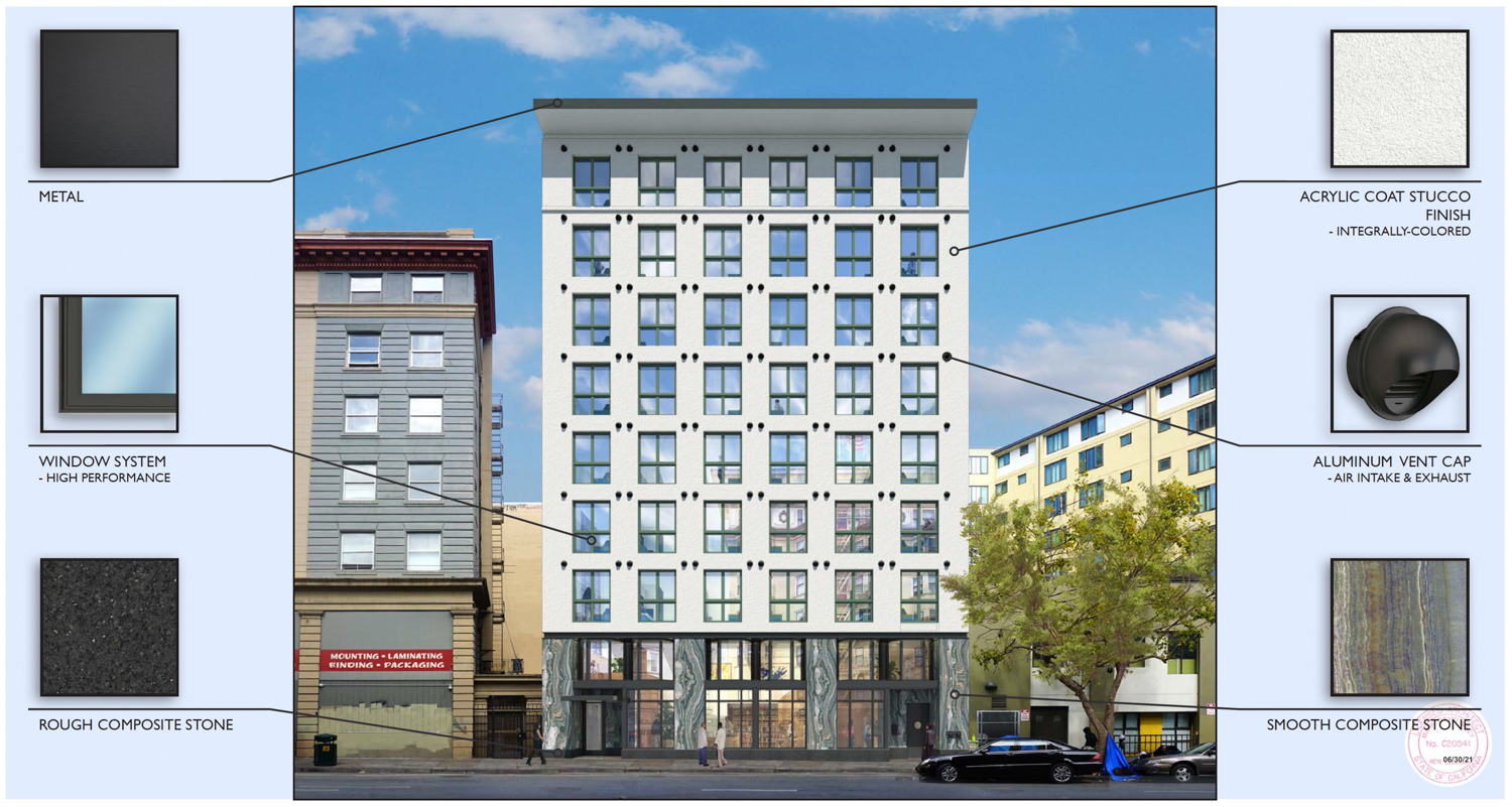468 Turk Street facade material mock-up, rendering from Macy Architecture