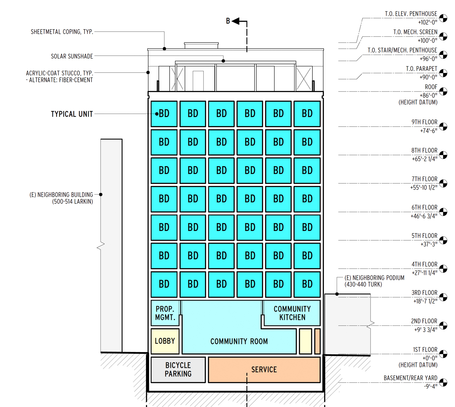 468 Turk Street vertical cross-section of the building, elevation by Macy Architecture