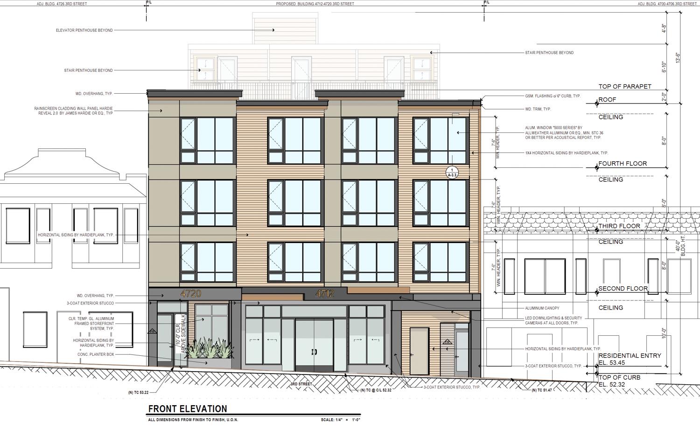 4712-4720 3rd Street elevation, illustration by Schaub Ly Architects