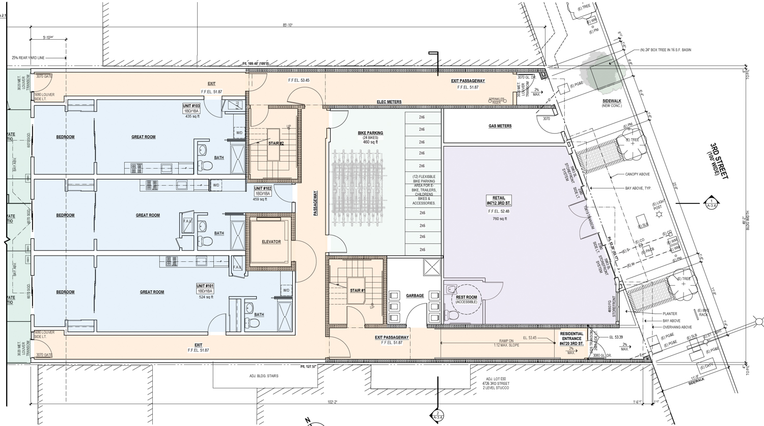 4712-4720 3rd Street ground-level floor plan, drawing by Schaub Ly Architects