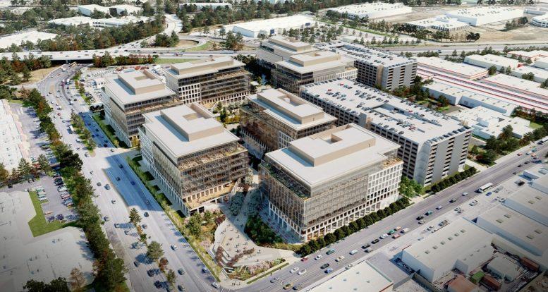 550 East Brokaw Road aerial view, conceptual rendering by Gensler