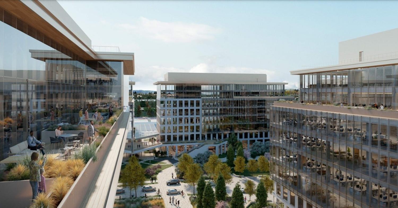 550 East Brokaw Road interior viewed from a rooftop terrace, conceptual rendering by Gensler