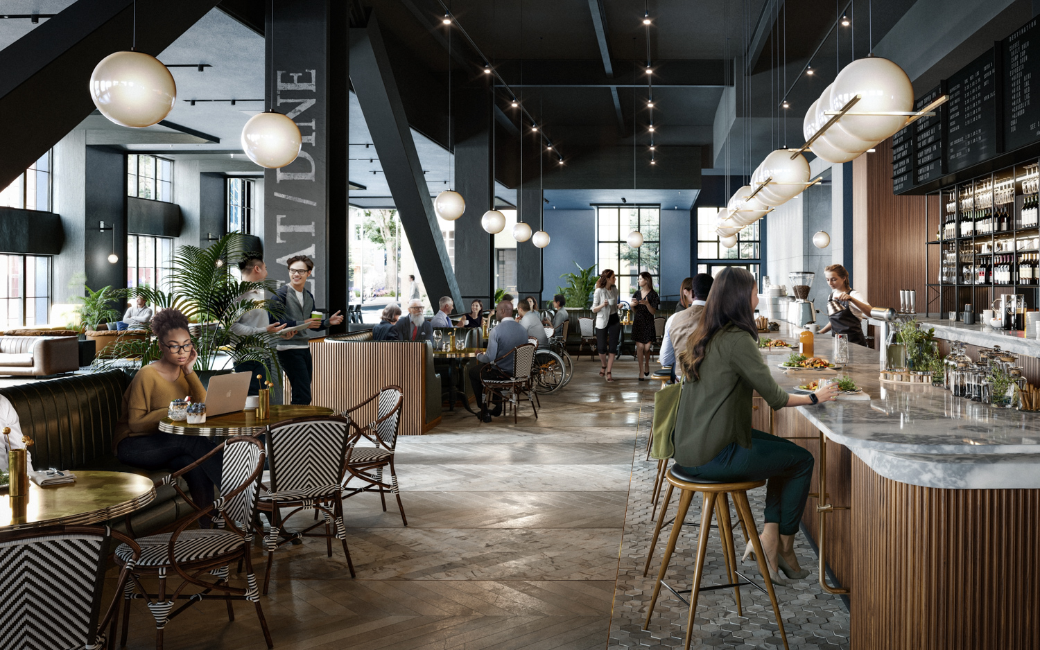 5M 415 Natoma Lobby Restaurant, rendering by Brookfield Properties and Steelblue