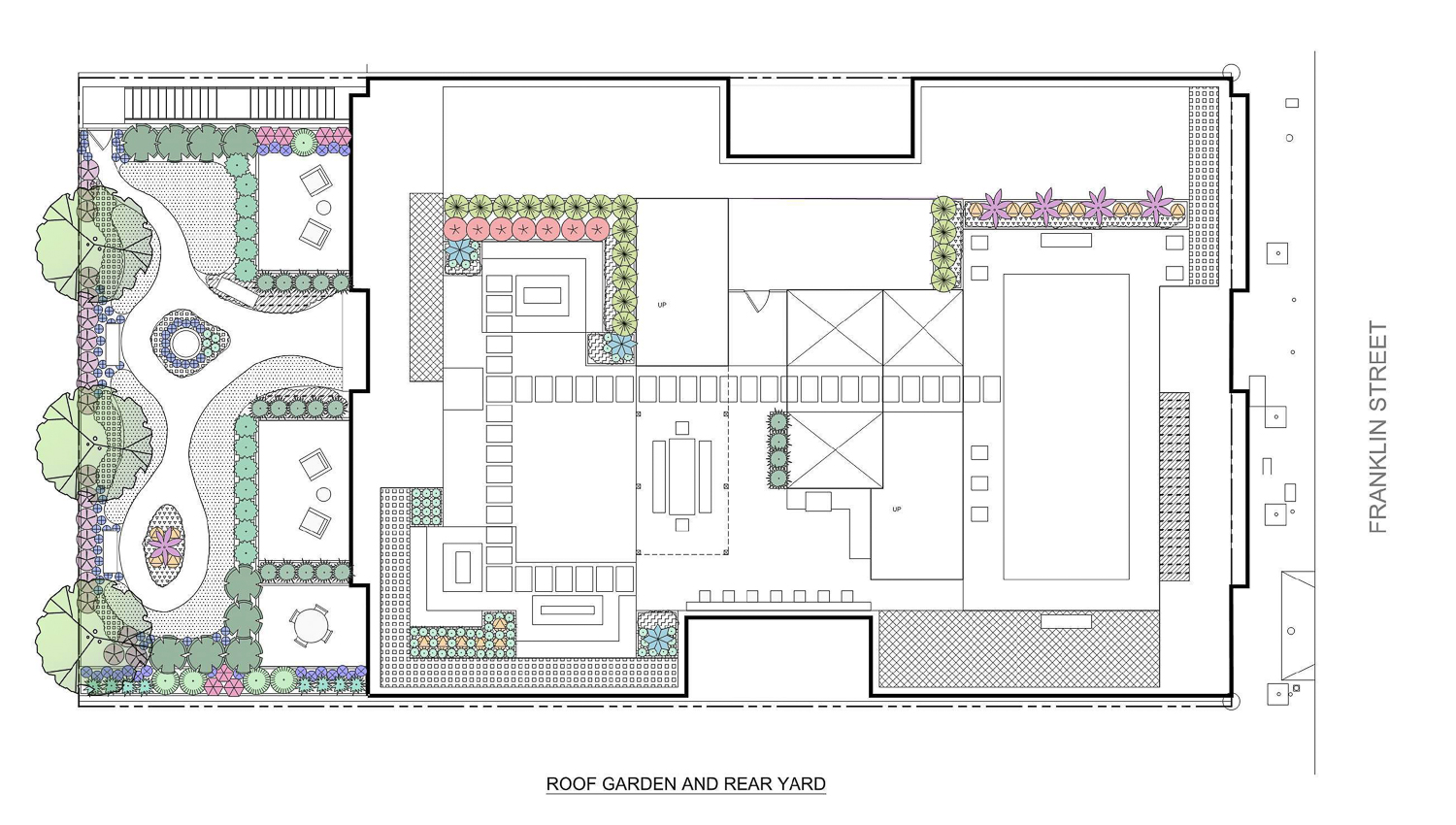807 Franklin Street roof and backyard garden, illustration by Integrated Design Studio