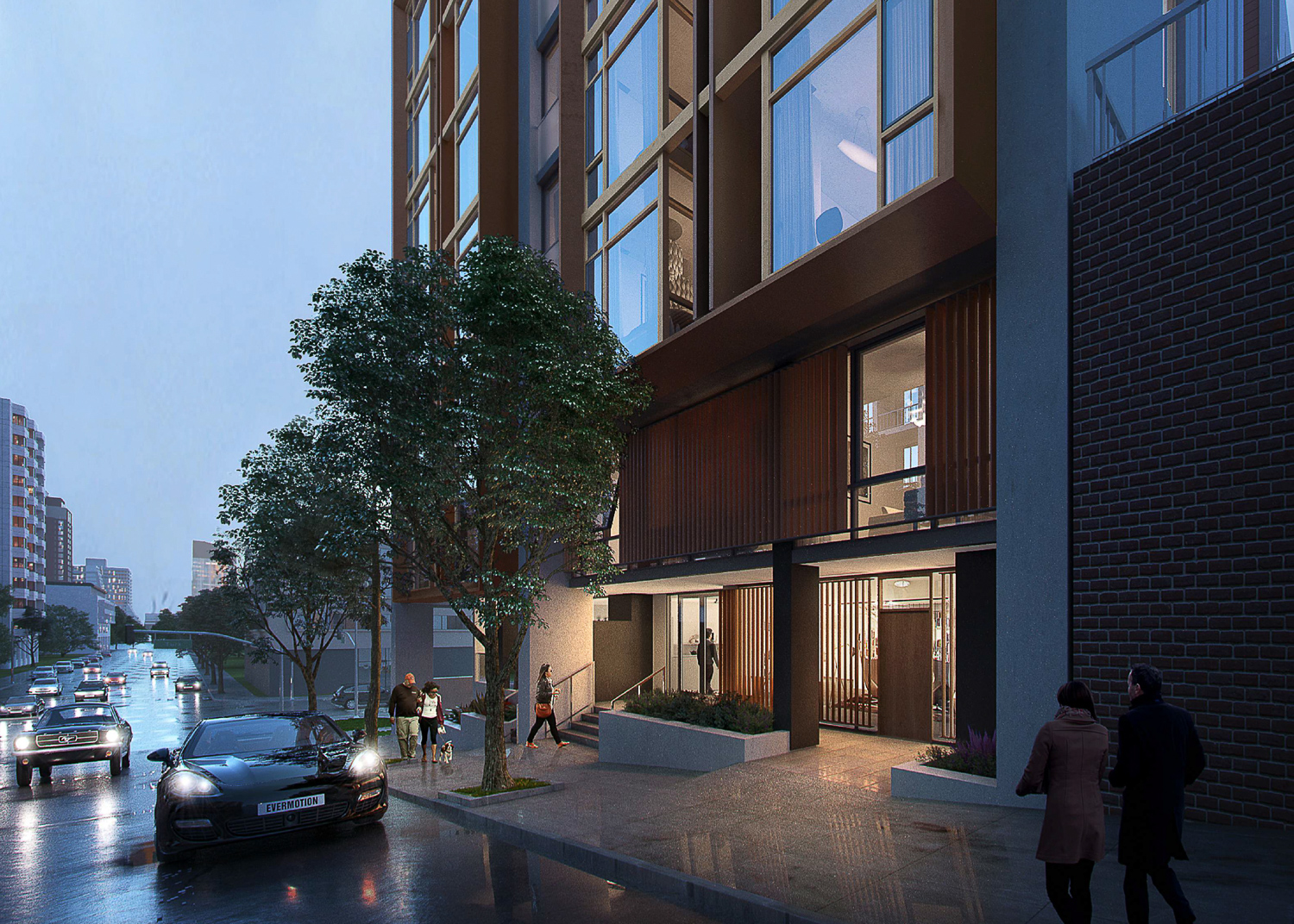 807 Franklin Street streetscape, rendering by Kerman Morris Architects