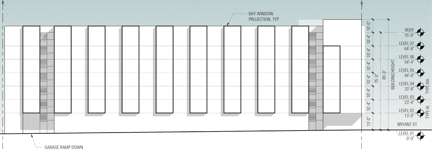 925 Bryant Street exterior elevation with bay window projections illustrated, design by BAR Architects