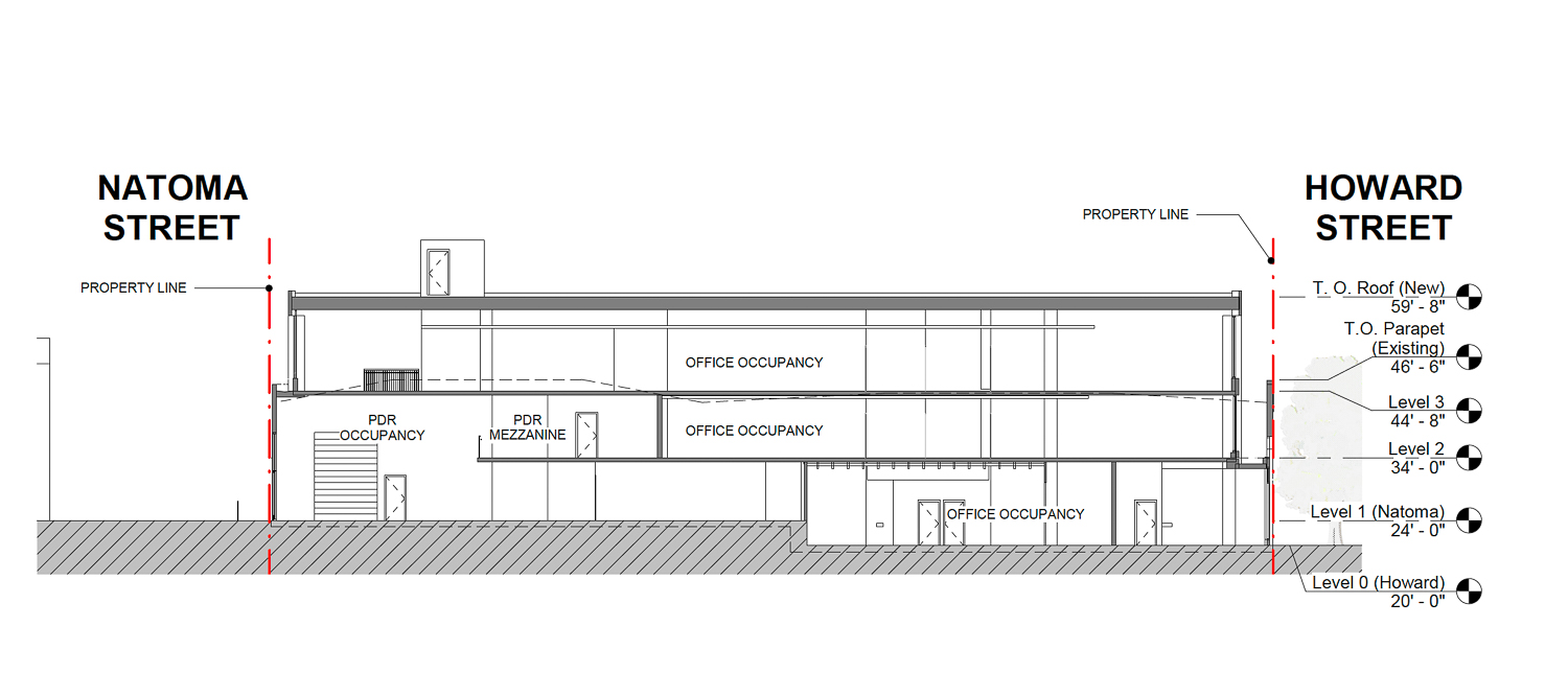 952-960 Howard Street vertical elevation, drawing by oWow