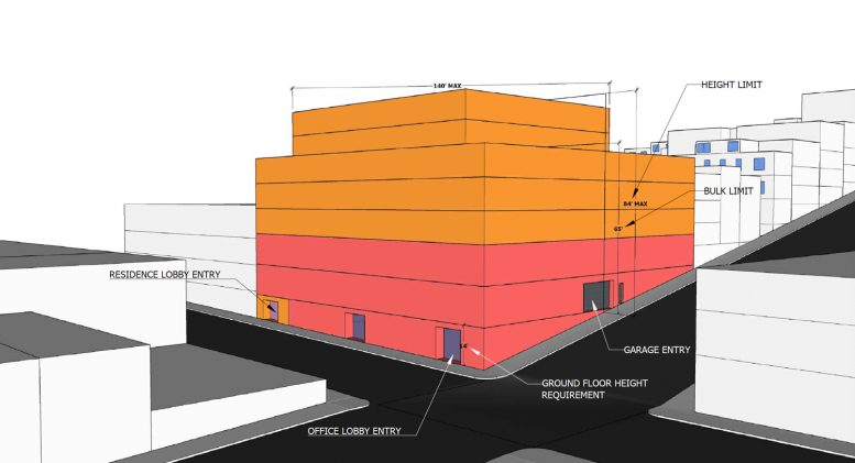955 Sansome Street massing study, illustration courtesy Aralon Properties