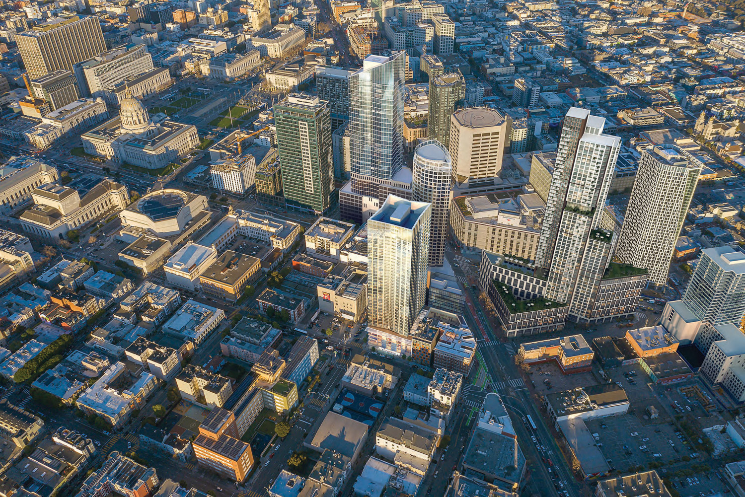98 Franklin Street aerial view with 30 Van Ness at top left, One Oak adjacent , 10 South Van Ness as the massive project to the near right, and the complete 1550 Mission at far right, rendering by Skidmore Owings & Merrill