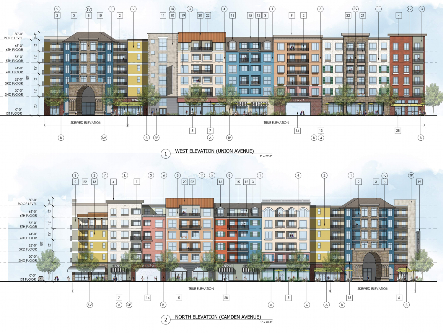 Cambrian Park Plaza at 14200 Union Avenue structure elevations, illustration by Kenneth Rodrigues & Partners