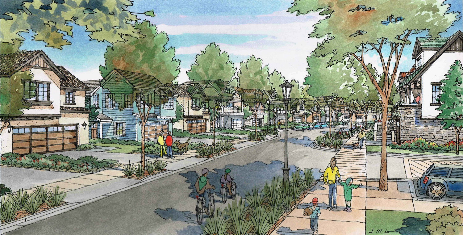 Cambrian Park Plaza at 14200 Union Avenue, view of single family homes along Camden Avenue, illustration by Kenneth Rodrigues & Partners