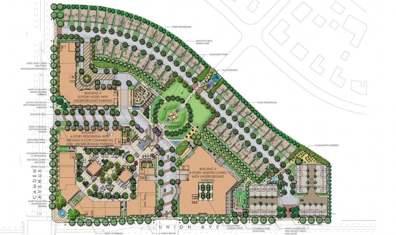 Cambrian Park Plaza development, illustration by Guzzardo Partnership