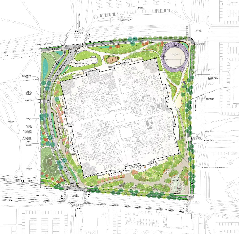 Charleston East building aerial elevation, design from Hargreaves Jones
