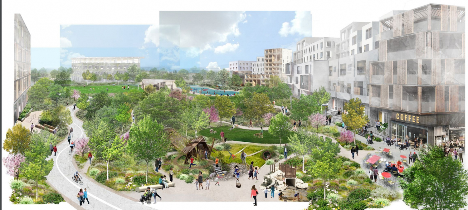 Conceptual renderings of the public space and housing for the Middlefield Park Google Masterplan, image courtesy Google