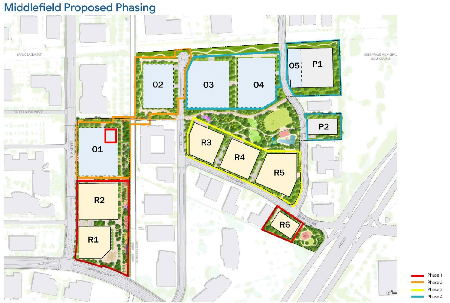 Google Middlefield Park proposed phases and plan, image courtesy Google