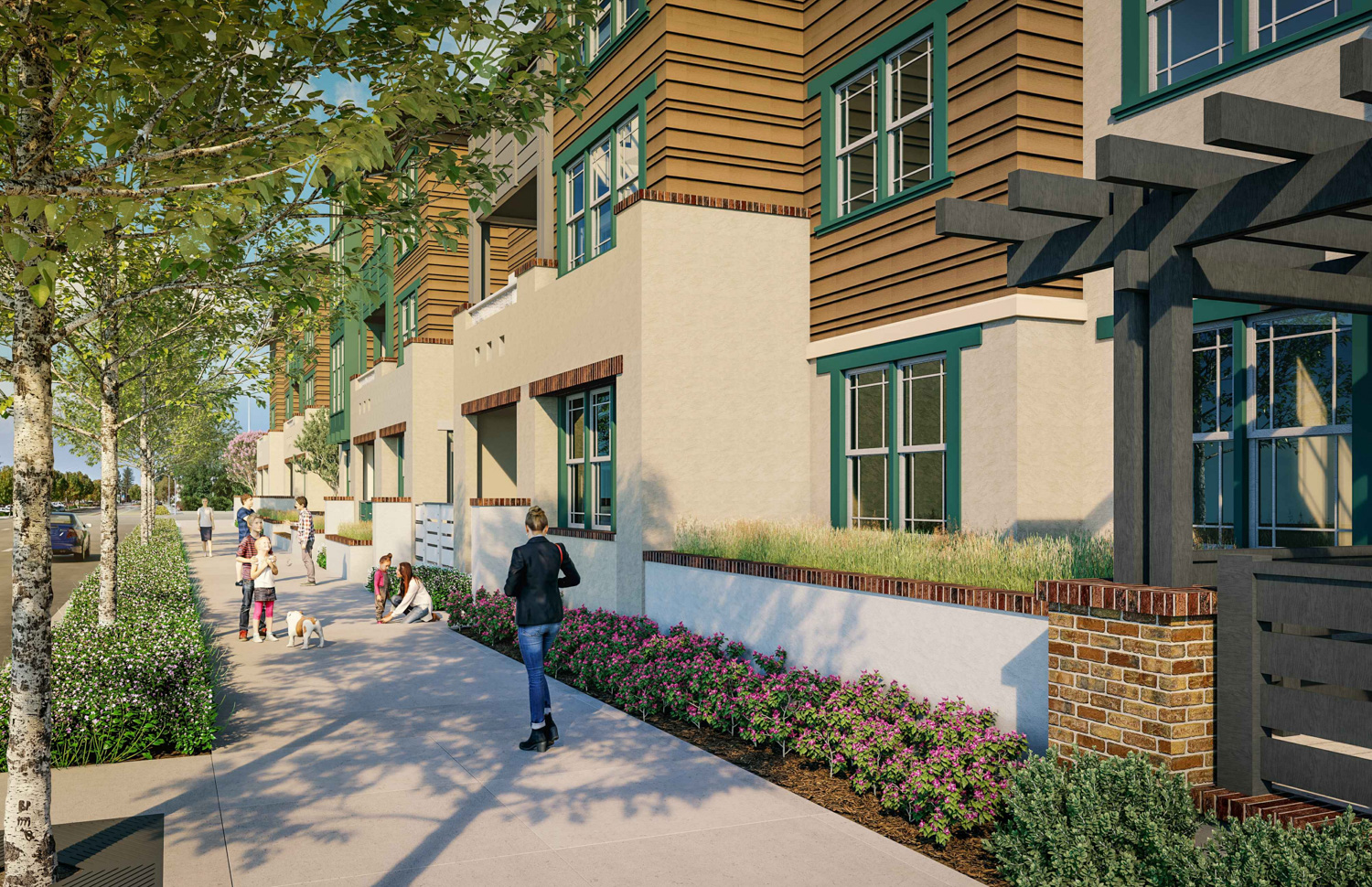 Middle Plaza at 400 El Camino Real residence alng El Camino Real, design by the Dahlin Group