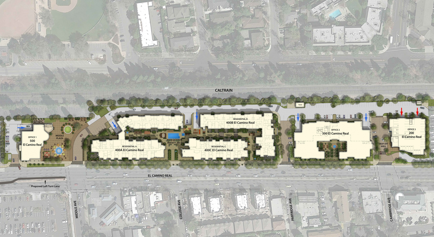 Middle Plaza site plan, image courtesy Stanford