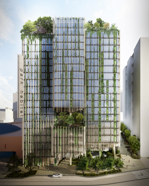 Park Habitat DD North Aerial, rendering from Kengo Kuma and Associates - Westbank