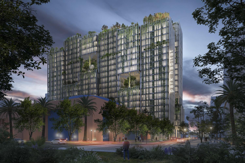 Park Habitat rendering, DD Chavez Park View Night, renderings from Kengo Kuma and Associates - Westbank