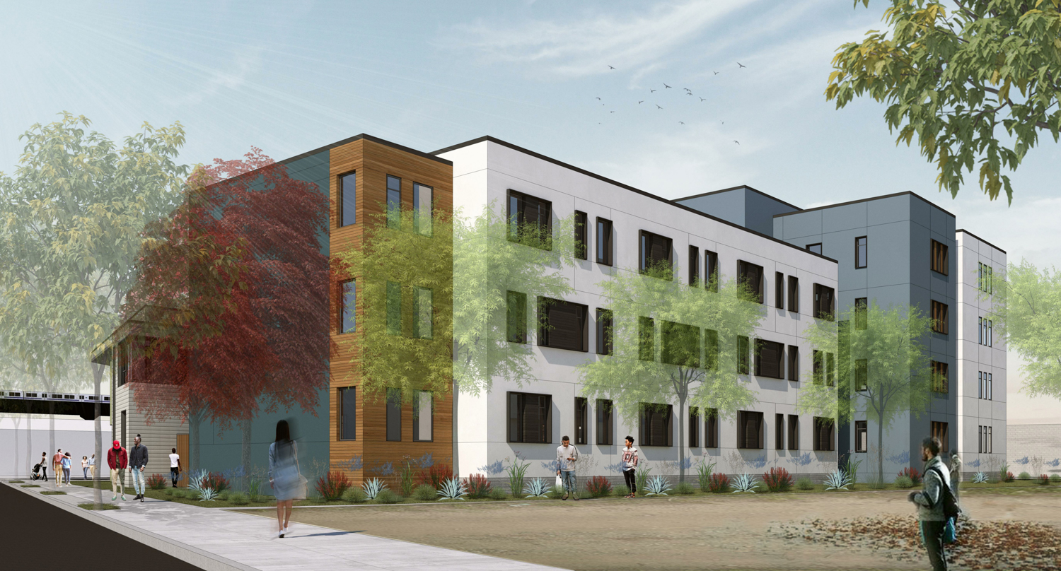 Phase one of the Phoenix at 801 Pine Street rear voew at Pine Street, design by Lowney Architects