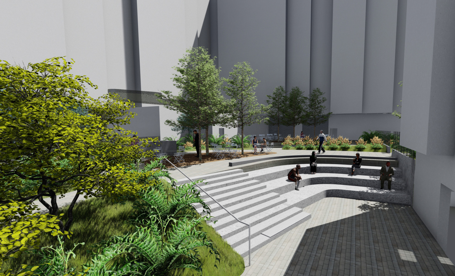 Potrero Hill Block B community amphitheater steps and northern courtyard grove, design by HKIT Architects and Y.A. Studio