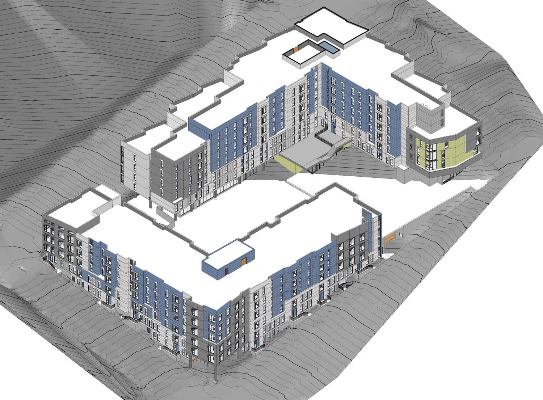 Potrero Hill Block B southwest axon, design by HKIT Architects and Y.A. Studio