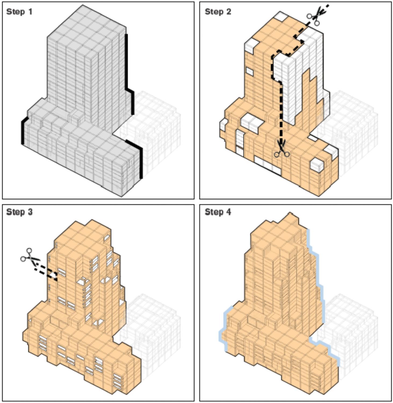 Potrero Power Station Block 7A four-step design plan, design by Foster + Partners