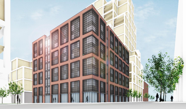 Potrero Power Station Block 7B uniform grid study, rendering by Leddy Maytum Stacy Architects
