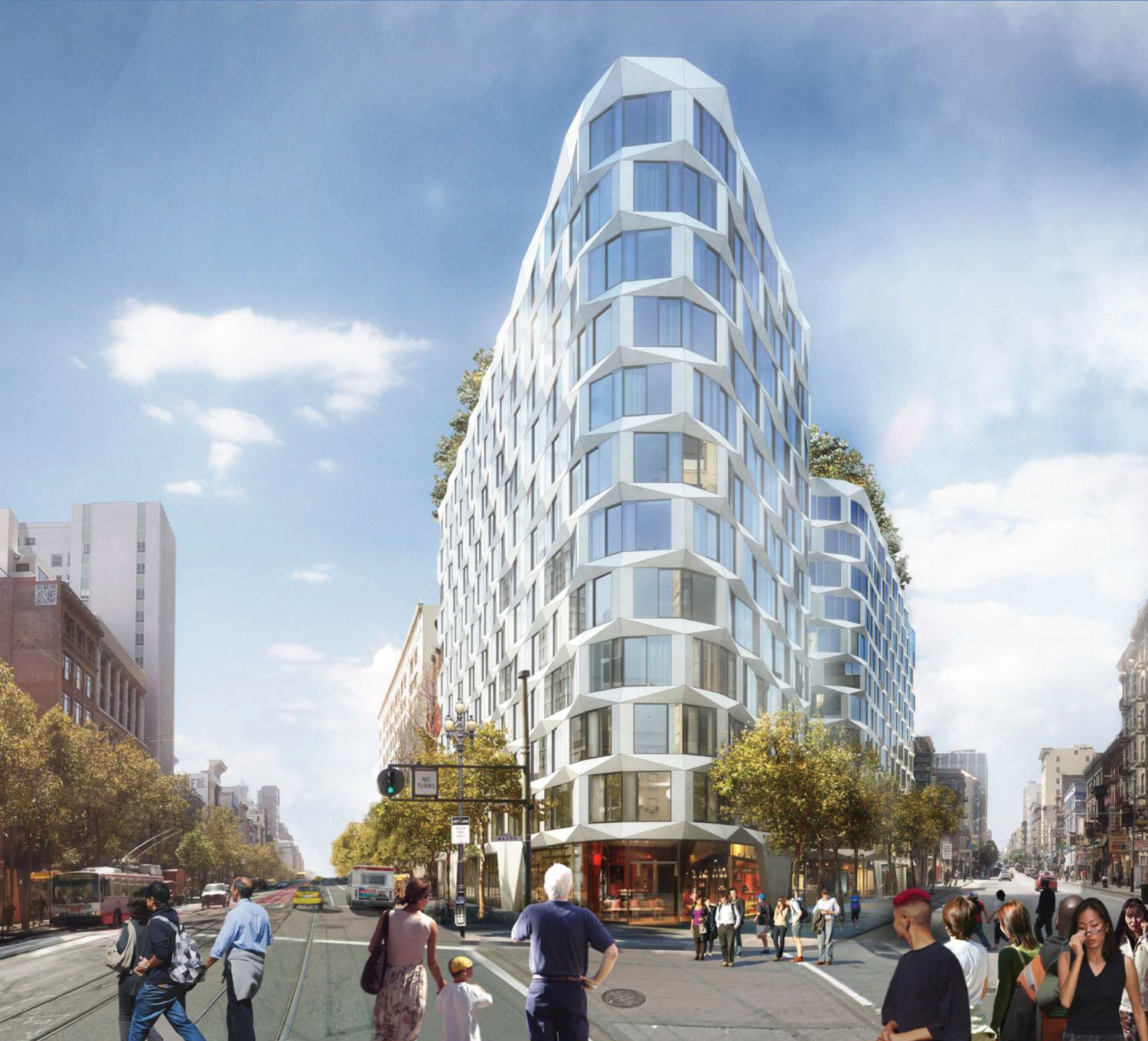 Serif at 950 Market Street view, design by Handel Architects, visualization by Atchain