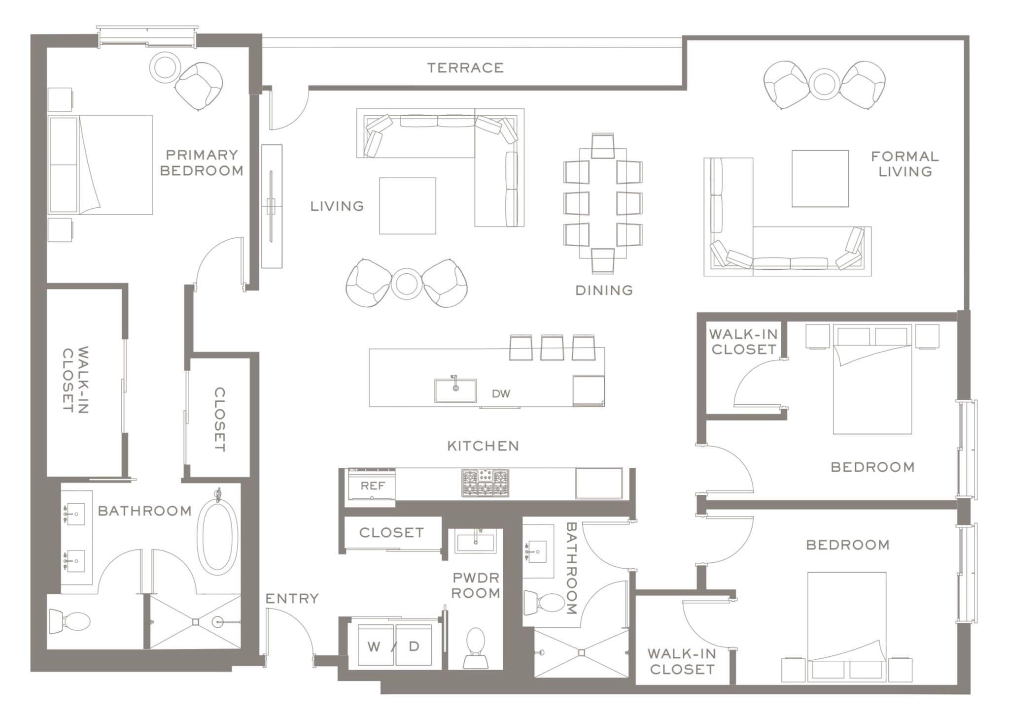 The Bristol, 3-Bedroom Plan via Yerba Buena Island