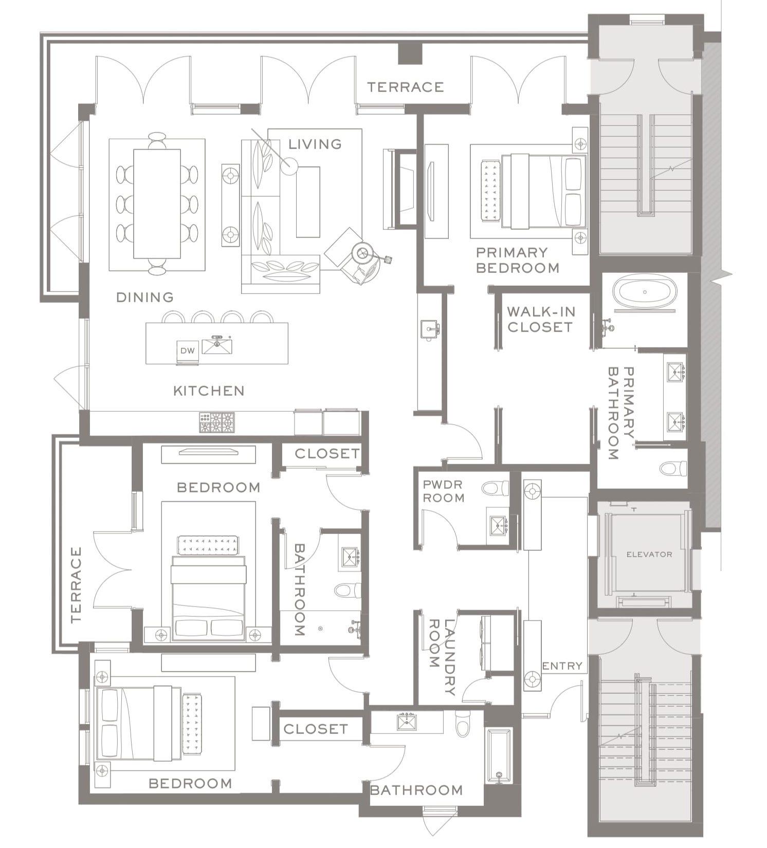 The Flats, 3-Bedroom Plan