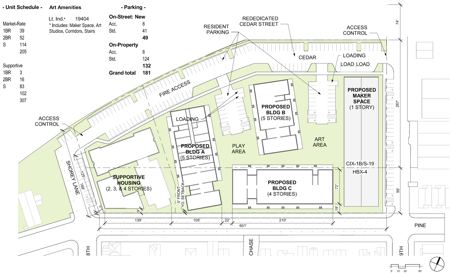 The Phoenix at 801 Pine Street project map layout, map by David Baker Architects