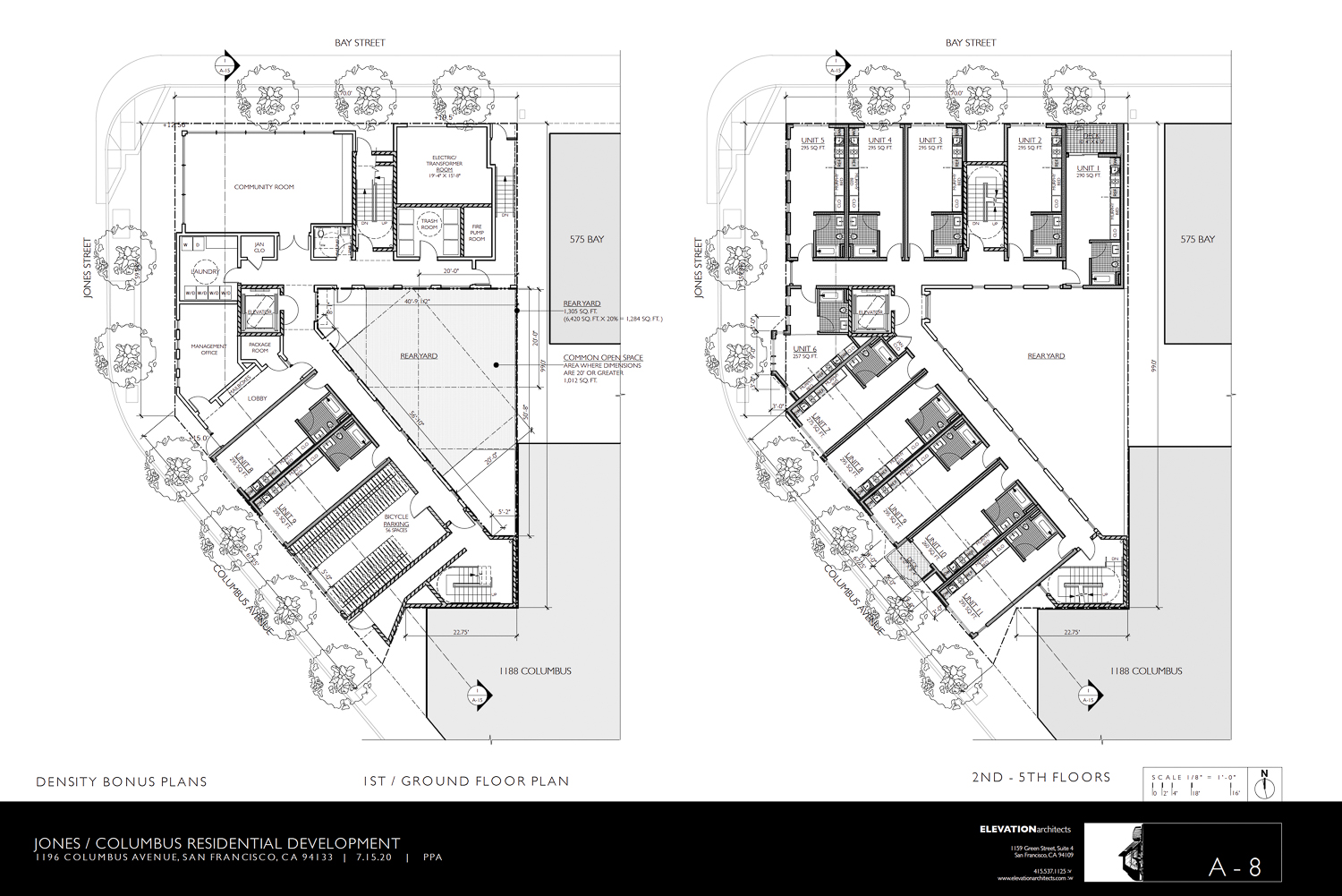 1196 Columbus Avenue ground floor plan, illustration by Elevation Architects