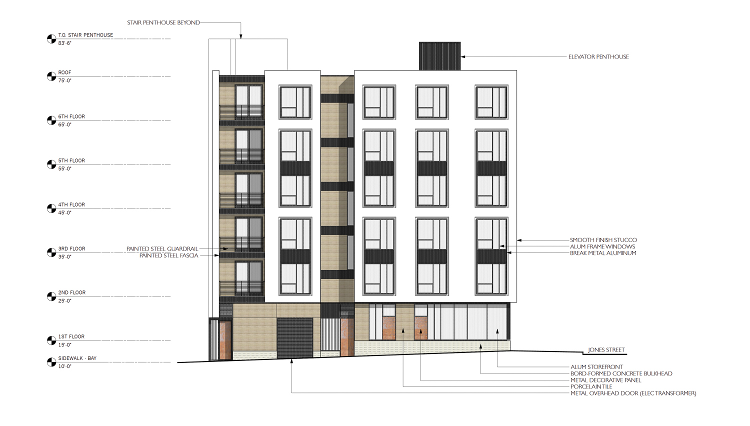 1196 Columbus Avenue vertical section, illustration by Elevation Architects