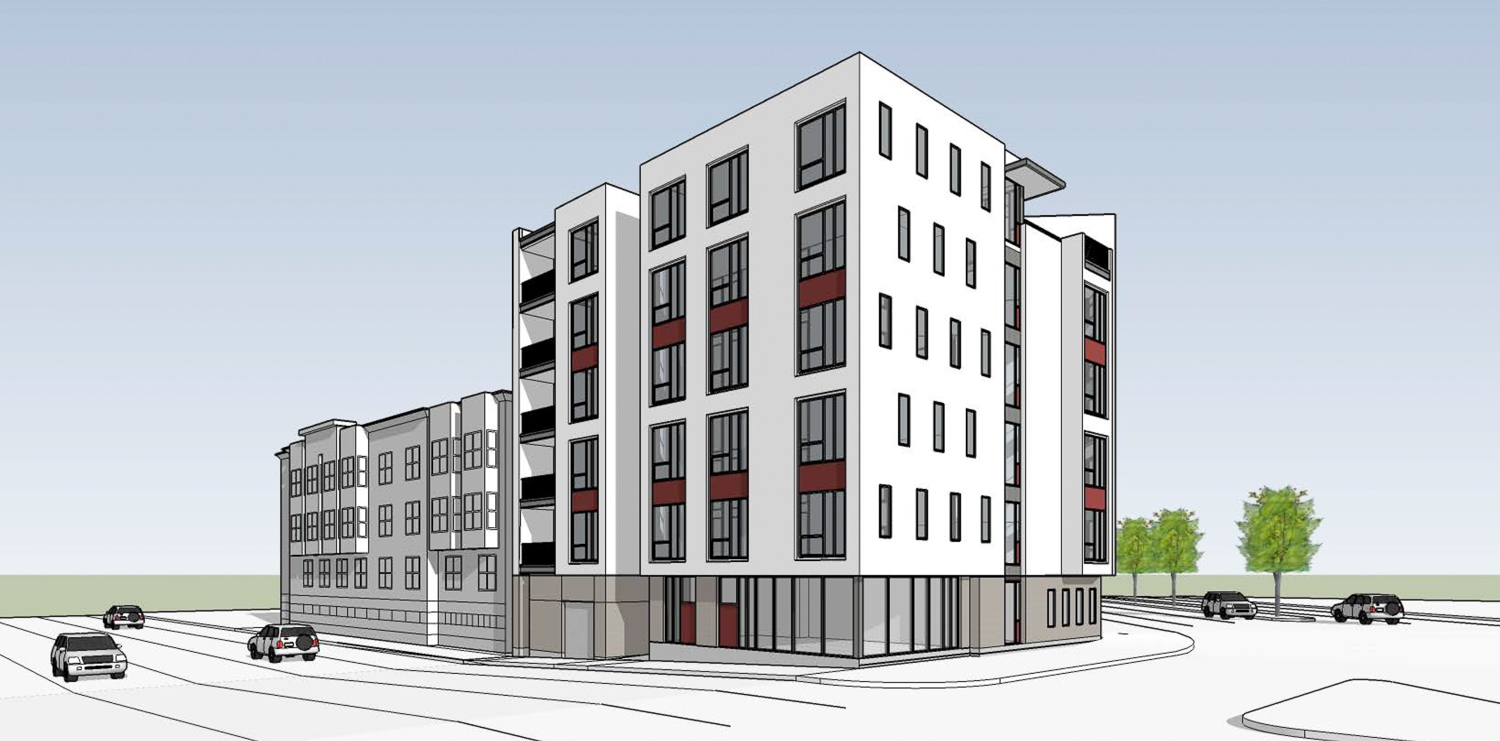 1196 Columbus Avenue with density bonus, rendering by Elevation Architects