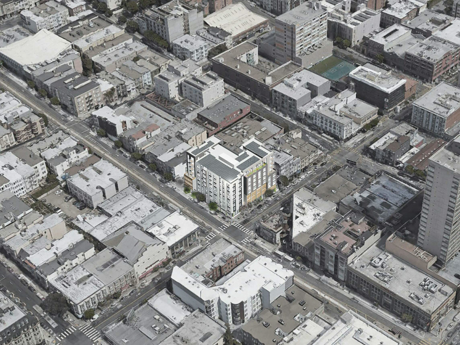 1567 California Street aerial view, rendering by David Baker Architects