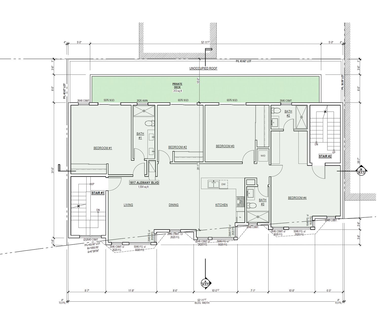 1817-1823 Almeny Boulevard second level floorplan, rendering by Schaub Ly Architects