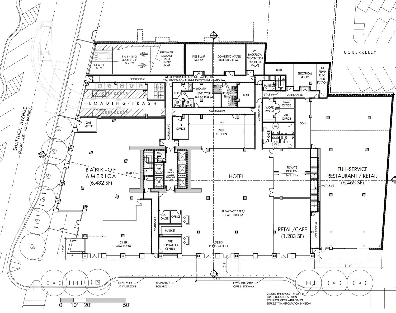 2129 Shattuck Avenue ground level floor plan, design by JRDV Architects